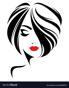 Immagini, foto stock e grafica vettoriale simili a tema illustration of women short hair style icon, logo women face on white background, vector - 512599735 Art Sketches, Art Drawings, Pencil Drawings, Sketches Of Girls, Drawing Drawing, Fashion Illustration Face, Illustration Art, Girl Sketch, Face Sketch