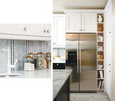 Sarah Richardson's IKEA kitchen makeover on a budget. I love the extra cubby beside the fridge.