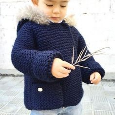 Diy Crafts - Ravelry: Fox hooded Coat pattern by Marta Porcel Crochet Baby Sweater Pattern, Baby Boy Knitting Patterns, Knitted Baby Cardigan, Knitted Coat, Knitting For Kids, Baby Coat, Coat Patterns, Baby Sweaters, Baby Girl Dresses