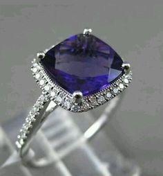 Blue Ceylon Sapphire Diamond Ring