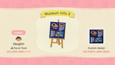 """""""I wanted to add to my Animal Crossing museum so I made some interactive outdoor exhibits about beekeeping and space, featuring a couple of signs I made! I thought I'd share them so my creator code is I'd love to see how people use them! Animal Crossing Qr Codes Clothes, Animal Crossing Villagers, Animal Crossing Game, Motif Acnl, Before I Forget, Motifs Animal, Little Designs, Animal Games, Design Museum"""
