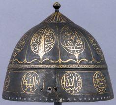Arabian helmet, ca. 1734, steel, gold, H. 6 7/8 in. (17.5 cm); Diam. 8 1/4 in. (21 cm); Wt. 15.6 oz. (442.3 g), Bequest of George C. Stone, 1935, Met Museum.
