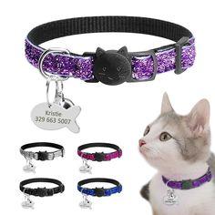 43e555e16b80 comprar Personalizado liberación rápida gatito gato ID cuello Bling  Lentejuelas perro Collares grabado etiqueta conjunto con