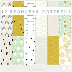 Mint Gold & Arrows  JPG files  Seamless Patterns by ShhMakerDesign