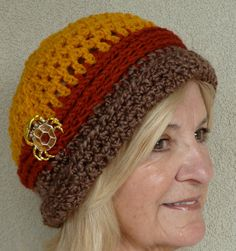 Hat Brown Gold Autumn Crochet Winter Woman Original https://www.etsy.com/treasury/NTM5ODkzNXwyNzIyNDI1NDA5/bring-the-coffee