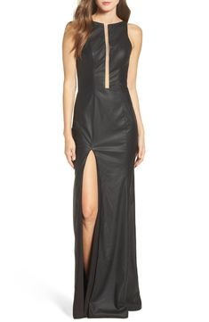 Free shipping and returns on La Femme Faux Leather Open Back Gown at  Nordstrom.com 99ffeebb6
