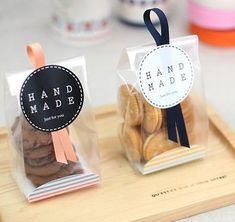 Cookies em embalagens transparentes para lembrancinha