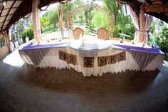 Purple rustic wedding burlap banner