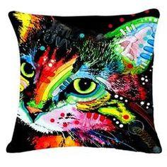 Colorful Mosaic Cat Throw Pillows Sofa Pillow Covers, Sofa Throw Pillows, Decorative Pillow Covers, Pillow Cases, Cat Lover Gifts, Cat Gifts, Pet Lovers, Printed Sofa, Cat Cushion