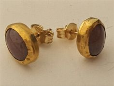 22k 9k solid Gold Earrings Agate oval chic cabouchon by OakaTitan