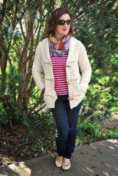 Ralph Lauren Sweater, Boden Striped Tee, Loft Skinnies, Piperlime Scarf, and J.Crew Flats. Mom Look or Current?