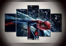 Decoración Del Hogar 5 Panel de Pared Arte Pintura Al Óleo Sobre Lienzo Con Textura Abstracta Pinturas de Spider-Man Fotos Decoración Modular cuadro(China)
