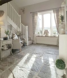 gorgeous hallway with Shabby chic furniture and pale decor , so pretty Visit . For similar stunning vintage style interior furniture and home accessories See More. Style At Home, Shabby Chic Homes, Shabby Chic Decor, Shabby Chic Hallway, Rustic Decor, Home Design, Interior Design, Flagstone Flooring, Cottage Interiors
