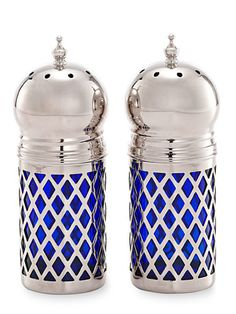Exclusive to #GoodHousekeeping: silver-plated sapphire glass salt and pepper shakers to put the finishing touch on your meal. #GiftIdeas