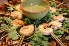 Grilled Fresh Shrimp with Citrus Mint Dip