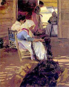 JoaquínSorollay Bastida(1863 -1923). Mending nets, 1901. Oil on canvas.Height: 164cm (64.57 in.), Width: 133cm (52.36 in.)