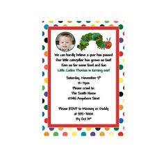 Invitations Photo Birthday Very Hungry Caterpillar 2nd 1st Parties