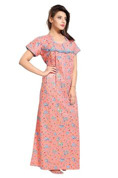 Orange Nighty/ Indian Gown/ Women's Soft Cotton Nighty/Nightwear/Night Dress/Sleepwear / Cotton Nighty For Women/ Fabric/ Craft/ For Girls Clothes For Pregnant Women, Clothes For Women, Pregnancy Clothes, Cotton Nighty For Women, Night Dress For Women, Girls Night, Skirt Fashion, Fashion Dresses, Night Gown Dress