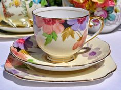 Roslyn China Hand Painted Vintage Teacup, Saucer and Tea Plate Trio c.1930s