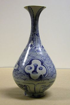 The history of the shape of this Vietnamese bottle is interesting. It is based on a shape that was popular in China in the fourteenth century. The Chinese pieces are a slight reinterpretation of a shape first found in metalwork in the eighth century, which, in turn, was based on a form introduced from India with Buddhism