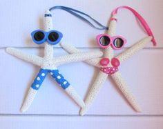 Items similar to Starfish Ornament, Snowman Ornament, Beach Christmas Ornament, Hand Painted Snowman Starfish Ornaments on Etsy