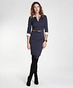<p style='margin-bottom:0px;'>A subtle shimmering empire band details this businesslike dress, an ideal piece for back to officewear. Chic in deisgn and structured to fit, the placket and roll-up cuffs provide a clean contrast to smart navy.</p><p style='margin-bottom:0px;'></p><ul><li style='margin-bottom:0px;'>Outer: 54% polyester / 44% wool / 2% elastane</li><li style='margin-bottom:0px;'>Lining: 96% polyester / 4% elastane</li><li style='margin-bottom:0px;'>Trim: 100% acetate</li><li…