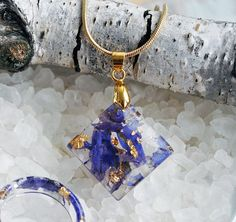 resin necklace - nature necklace - real flower necklace - resin flower necklace - nature inspired necklace - terrarium necklace - blue necklace - Everyday Jewelry - Look of the day  Resin necklace with blue larkspur petals Field and gold flakes. All of my jewelry is created in my home studio.  Making my adornments I use only natural materials: routs of plants, flowers, leaves, elements of trees, moss, natural coloring matter etc.   I create adornments for women that love natural style…
