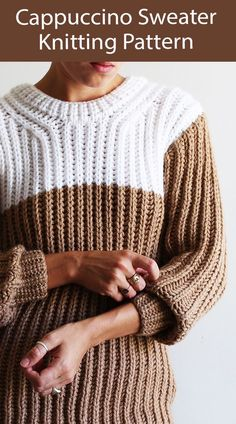 Sweater Knitting Pattern Cappuccino Sweater Jumper - Long sleeved pullover sweater with a color blocked yoke like the froth on your espresso. Looks like a 2 row repeat Fisherman's Rib. Sizes Sizes S (M - L - XL). Designed by Morgane Mathieu. Aran weight yarn.