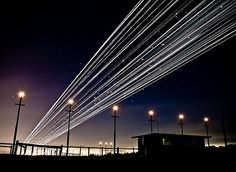 Long exposure of take off/landing. What a pretty outcome to a great idea.
