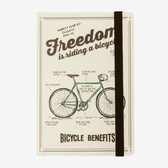 Il taccuino medium a righe freedom is riding a bicycle è ideale per custodire ricordi, pensieri e appunti.<br> Carta di altissima qualità in un design moderno e divertente che dona un tocco di stile al lavoro, a scuola e nel tempo libero<br>