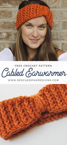 Cabled Ear Warmer Crochet Pattern ⋆ Rescued Paw Designs Crochet by Krista Cagle