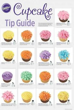 cupcake tip guide - decorating cupcakes - . - New Popular Pins dekorieren cupcake tip guide - decorating cupcakes - . - New Popular Pins Cupcake Decorating Techniques, Cake Decorating Piping, Cookie Decorating, Cupcake Frosting Techniques, Wilton Cake Decorating, Cake Decorating For Beginners, Decorating Tips For Cakes, Cake Piping Techniques, Cupcake Decorating Party