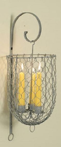 Hanging Candle Holder Galvanized Metal Cage Chicken Wire Sconce Primitive Decor #NaivePrimitive
