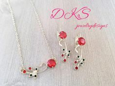 Cherry Blossom Time, Swarovski Necklace, Earring Set, Petite, Jewelry set,  Lever Backs, Red, Green, DKSJewelrydesigns, FREE SHIPPING