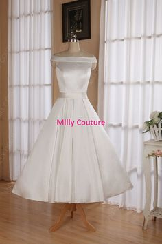 Off the shoulders tea length wedding dresses by MillyCouture
