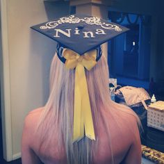 Graduation cap decorating !  Love where the bow is positioned!
