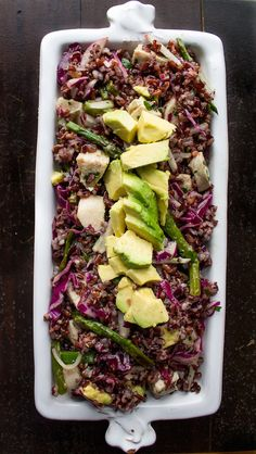 Black Rice Salad with Spring Vegetables & Avocado (black rice, asparagus, chicken, purple cabbage, radish...)