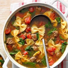 My idea of a winning weeknight meal is this beefy soup that simmers in one big pot. Grate some Parmesan and pass the crackers. —Julie Davis, Jacksonville, Florida Ground Beef And Spinach, Soup With Ground Beef, Beef Noodle Soup, Beef And Noodles, Korma, Biryani, Bowl Of Soup, Soup And Salad, Beef Soup Recipes
