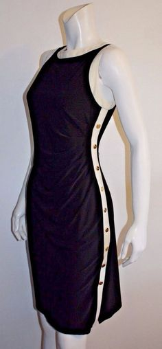 Ralph Lauren Black White Gold Button Fully Lined Stretch Fitted Dress Size 12…