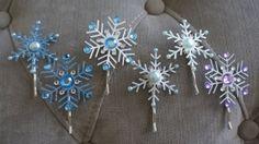 Elsa/ Frozen Inspired Snowflake Hair Clips/ by poywPrincessParties...for Elsa hairdo.