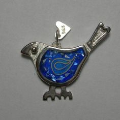 Blue-bird of happiness pendant in fired glass vitreous enamel and fine silver by Sasha Leon Sculpture & Jewellery at www.slsj.co.za #lovebalela