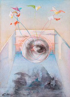 "Cuadros Eduardo Naranjo - ""Cometas"" c.2010, watercolor"
