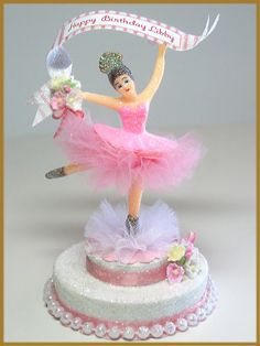 Vintage Pink Ballerina Cake Topper by PatriciaMinishDesign on Etsy, $56.00