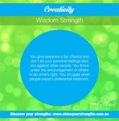 Do you have the strength of creativity? Build this strength by:  •	Owning up to your mistakes. •	Actively encouraging the participation of others. •	Volunteering to assist others who need a hand. Want to discover more ways to put your strengths to work? Visit www.shineyourstrengths.com.au Self Regulation, Positive Psychology, Teamwork, A Team, Are You Happy, Leadership, Encouragement, Finding Yourself, Strength