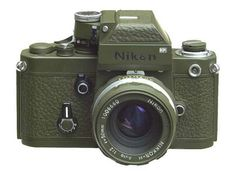 A Nikon F2 Photomic SLR converted to olive green by master craftsmen in Italy. Several cameras (Nikons, Canons and Pentaxes, among others) were converted in the early 2000s in this way to mimic purported military-issue cameras