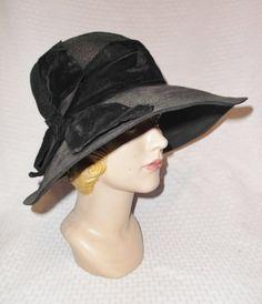 1920s Vintage Black Straw Wide Brim Cloche by MyVintageHatShop