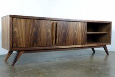 "The "" Lemonade"" a mid century modern TV stand, TV console, credenza, record player console Mid Century Console, Mid Century Modern Desk, Tv Console Modern, Mid-century Modern, Record Player Console, Record Stand, Walnut Tv Stand, Wood Crates, Mid Century Design"