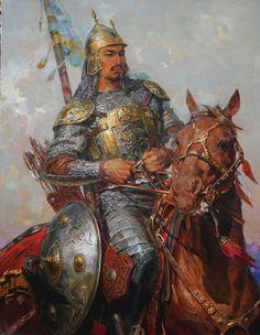 m Fighter Plate Armor Shield Helm Lance Sword Longbow Horseback Asian Faction Vikings, Crimean Tatars, Wow Art, Middle Ages, Fantasy Art, Concept Art, Fiction, Character Design, Illustration