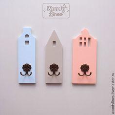 Купить Набор из 3х крючков для одежды Голландские домики - кремовый, вешалка, крючки для одежды