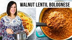 Vegan Sauces, Vegan Foods, Vegan Recipes, Lentil Bolognese Vegan, Walnut Sauce, Bolognese Sauce, Vegan Meal Prep, Meat Sauce, Raw Vegan